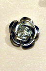 Metal rose 15x9 mm silver -50 pieces