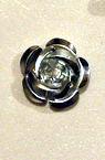 Trandafir metalic 15x9 mm argintiu -50 bucăți