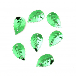 Loose Sequins Beads for Sewing, Dress Decoration, Wedding, Craft 18 mm leaf two holes green -20 grams