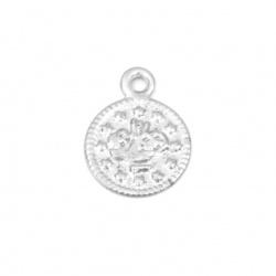 Monedă metalică argintie de 10 mm cu un inel -50 piese