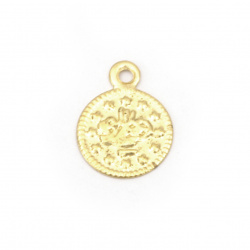 Metal coin 10 mm gold with a ring - 50 pieces