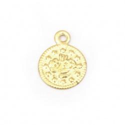 Monedă metalică aurie de 10 mm cu un inel -50 bucăți
