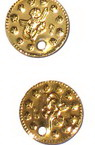 Sew On Metal Coin, DIY Clothes, Decorations 15 mm gold -50 pieces