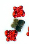 Acrylic stone for gluing butterfly 9 mm red -50 pieces