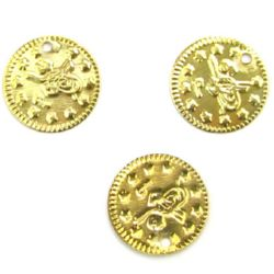 Sew On Metal Coin, DIY Clothes, Decorations 19 mm gold -50 pieces