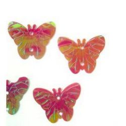Sequins butterfly 22x18 mm red -20 grams