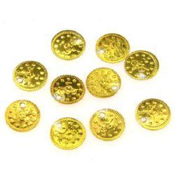 Monedă metalică auriu de 11 mm -50 piese