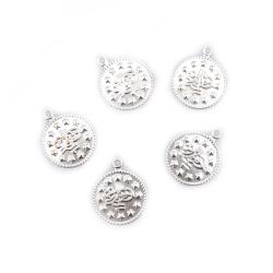 Monedă metalică argintie de 15 mm cu un inel -50 piese