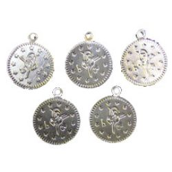 Monedă metalică argintie de 19 mm cu un inel -50 piese
