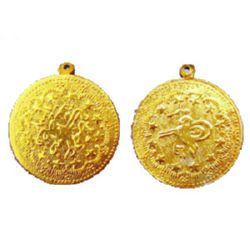 Metal coin for handmade decorations 36 mm gold with a ring - 10 pieces