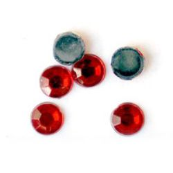 Acrylic stone for gluing 5 mm round red transparent faceted -100 pieces