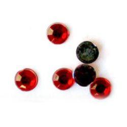 Acrilica pictara  pentru lipire 4 mm rotunda rosie transparenta fatetata -100 bucati