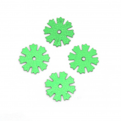 Sequins snowflake 11 mm green -20 grams