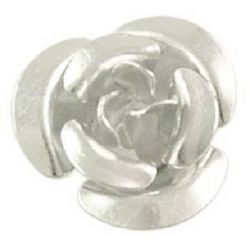 Rose 6x4.5 mm hole 1 mm aluminum white -100 pieces