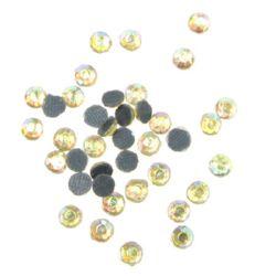 Камъче стъклено с лепило 3 мм дъга жълто 2 грама ~90 броя