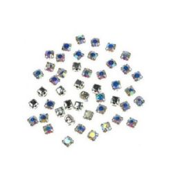 Stone for sewing with metal base 3x3 mm hole 1 mm extra quality, rainbow - 20 pieces