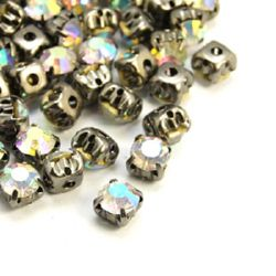 Stone for sewing with metal base 6x5 mm hole 1.5 mm,rainbow - 10 pieces