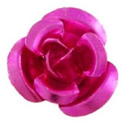Dark pink Decoration Flower for gluing 10 x 6.5 mm Aluminium-50pieces