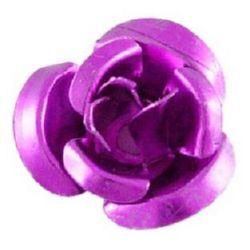 Dark violet Rose Decoration for gluing 10 x 6.5 mm Metal