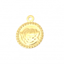 Coin metal rose 15 mm gold with a ring -50 pieces