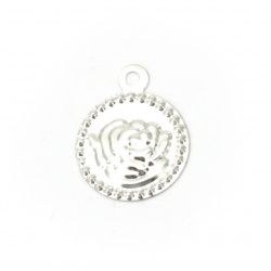 Coin metal rose 15 mm silver with a ring -50 pieces