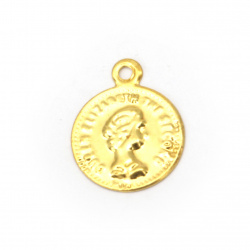 Față metalică monedă auriu de 12 mm cu un inel -50 bucăți
