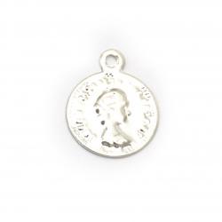 Față metalică monedă argintie de 12 mm cu un inel -50 bucăți