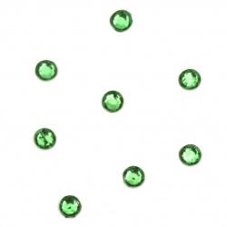 Камъче стъклено с лепило 4 мм зелено 2 грама ±60 броя