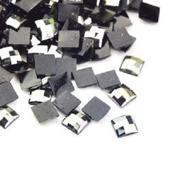 Piatra acrilica pentru lipire pătrat 5x5x1,5 mm grafit -200 bucăți