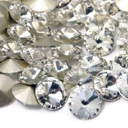 Acrylic Rhinestone, Hot-Fix Decoration, Clothes, DIY, Craft, Jewelry Making round 8 mm transparent -5 pieces
