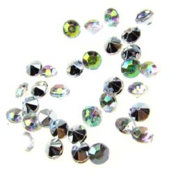 Acrylic Rhinestone, Hot-Fix Decoration, Clothes, DIY, Craft, Jewelry Making round 3 mm Rainbow Effect -100 pieces