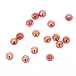 Perla emisferă 4x2 mm culoare roșu curcubeu -250 bucăți