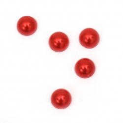 Perla emisferă 8x4 mm culoare roșu -100 bucăți