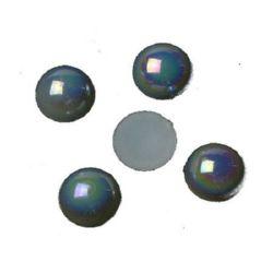 Perla emisferă 10x5 mm culoare alb curcubeu -50 bucăți