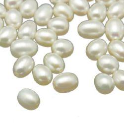 Μαργαριτάρι 5 ~ 6x4.5 ~ 5 mm τρύπα 0,8 mm λευκό -4 τεμάχια