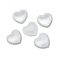 Inima emisferă perlă 11x10x2 mm culoare alb -50 bucăți