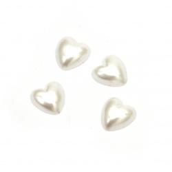 Перла полусфера сърце 5x5x2 мм цвят бял -100 броя