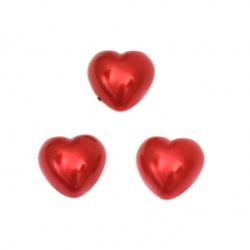 Перла полусфера сърце 9.5x9.5x3.5 мм цвят червен -50 броя