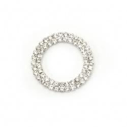 Element de lipire metalic cu cristale cerc 26x2 mm gaură 17 mm argint