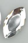 Камък акрил за пришиване 17x32 мм листо бял първо качество -10 броя