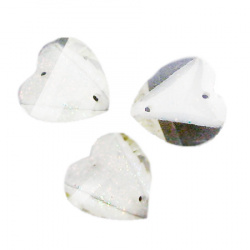 Sew On Acrylic Rhinestone, DIY Clothes, Decoration 15x13 mm figurine heart rainbow with white - 10 pieces