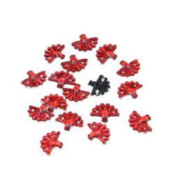 Piatră acrilică pentru cusut forma evantai 10x12 mm roșu -50 bucăți