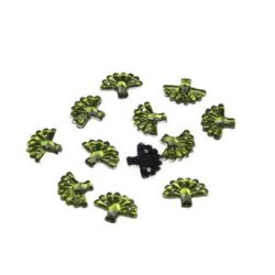 Acrylic stone for sewing 10x12 mm green fan - 50 pieces