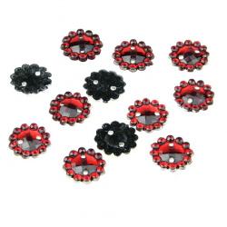 Piatră acrilică pentru cusut roșu  forma rotunda de 10 mm -50 bucăți
