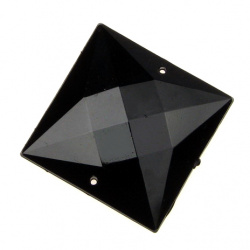 Sew On Acrylic Rhinestone, DIY Clothes, Decoration 30mm square black extra quality
