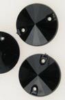 Камък акрил за пришиване 18 мм кръг черен екстра качество - 25 броя