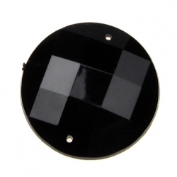 Sew On Acrylic Rhinestone, DIY Clothes, Decoration 30mm round black extra quality