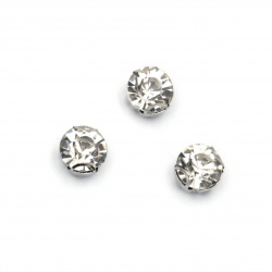 Stone for sewing with metal base 8 mm extra quality, white - 10 pieces