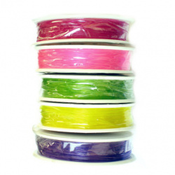 Elastic Fibre Wire, Dyed, 0.8 mm Mixed Colors ~ 8 meters