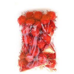 Помпони с ламе 15 мм червени -50 броя